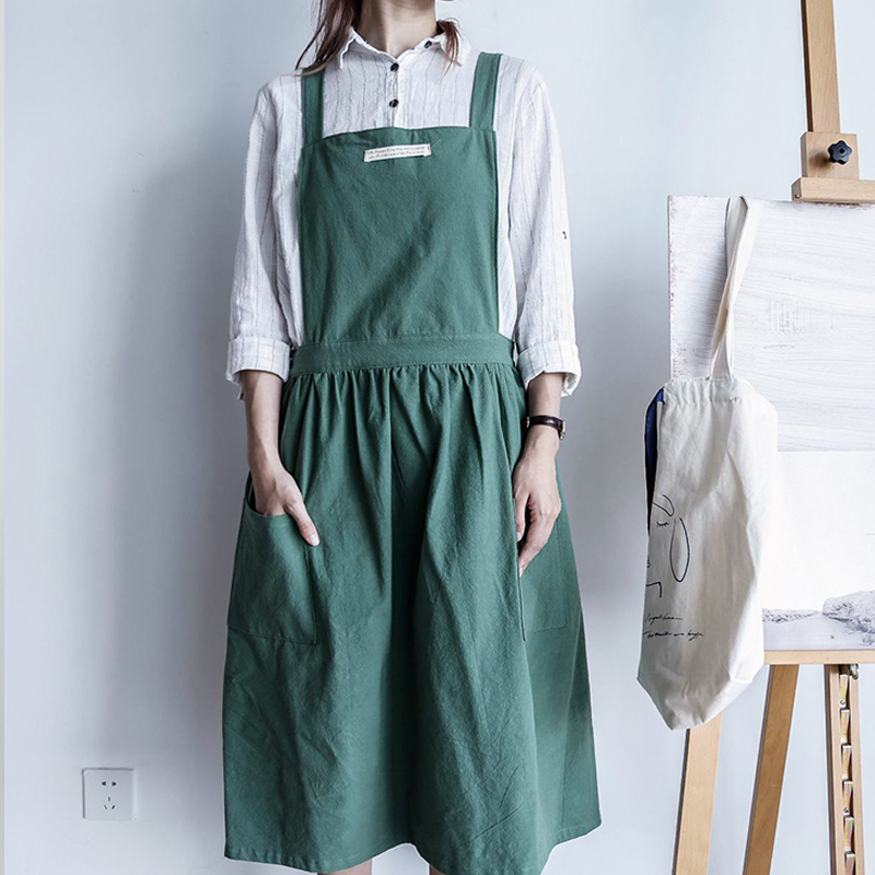 Adults Apron Cover Up Cotton Women Solid Color Simplicity Pleated Fashion Lovely Japanese Korean Kitchen Work Clothes