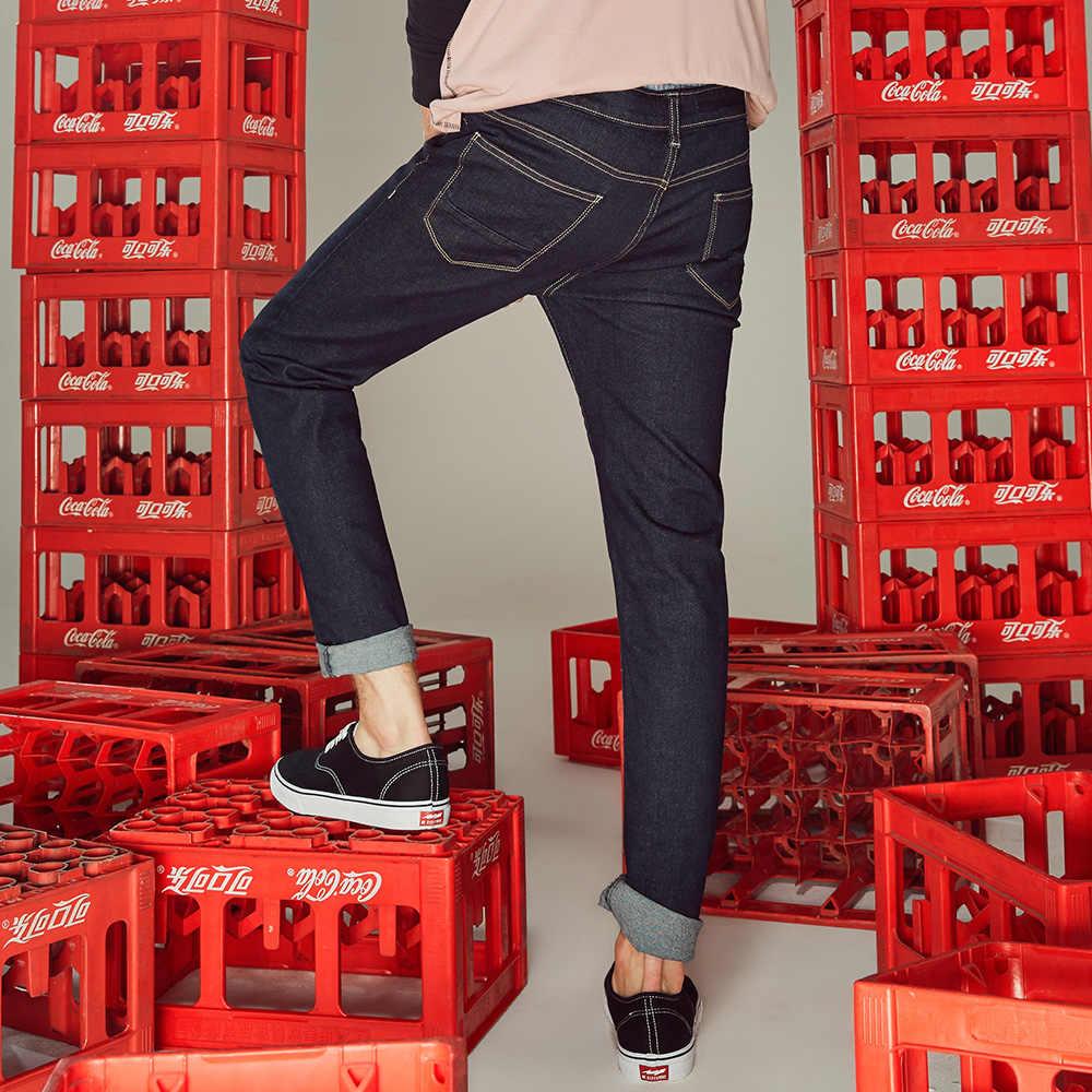 Metersbonwe 남성 청바지 스키니 Streetwear 라이트 블루 바지 슬림 바지 청소년 캐주얼 트렌드 슬림 청바지 남성