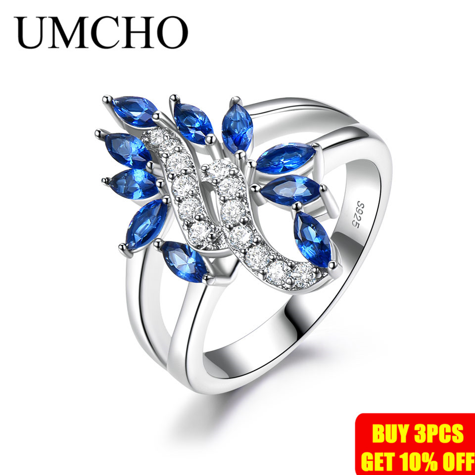 Image 2 - UMCHO Genuine 925 Sterling Silver Ring Gemstone Blue Sapphire Rings for Women Cocktail Flowers Trendy Romantic Gift Fine JewelryRings   -