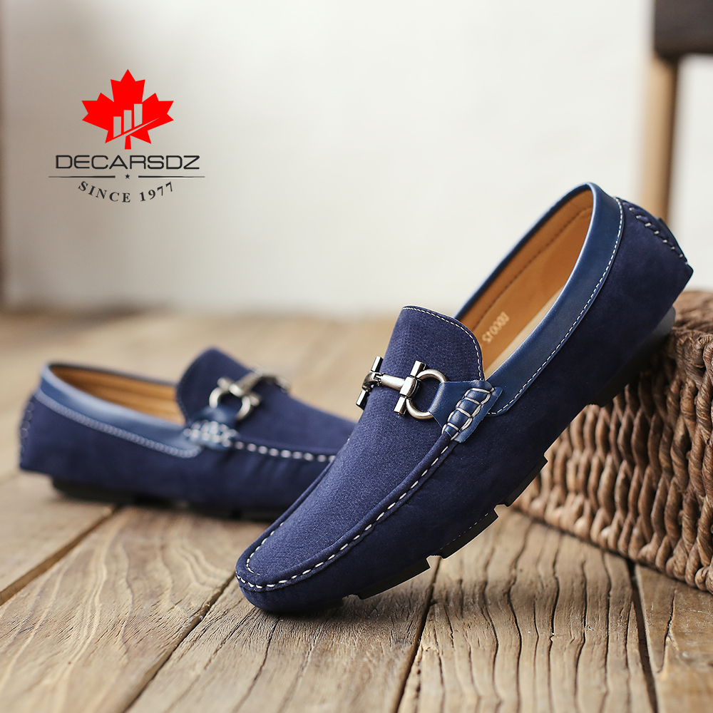 DECARSDZ Men Loafers Shoes 2021 Summer Fashion Shoes Man  Classic Suede Leather Drive Footwear Men Comfy Boat Casual Shoes Men