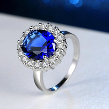 Ataullah Blue Sapphire Ring Silver 925 Jewelry Plated Inlaid with 3A Zircon Gemstone for Woman Fine Party RW088