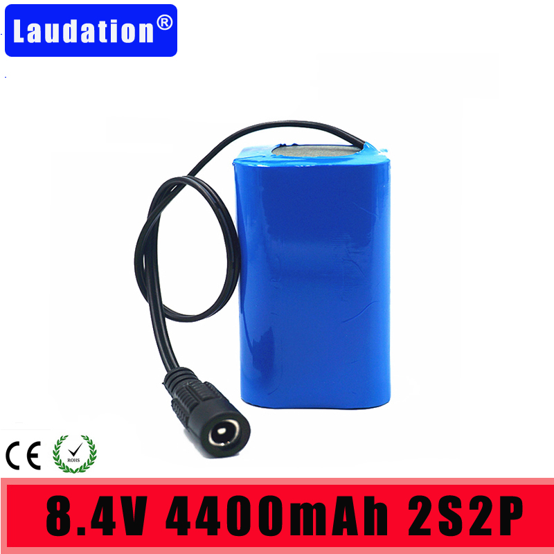 <font><b>7.4V</b></font>/ 8.4V <font><b>Battery</b></font> Pack 4400mAh18650 <font><b>Battery</b></font> 4.4Ah Rechargeable <font><b>Batteries</b></font> For Bicycle Headlights/CCTV/Camera/Tools/LED Laudation image