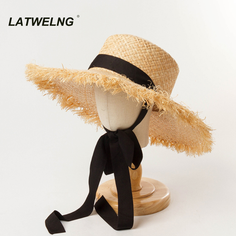 Модная шляпа от солнца с лентой для девочек, размер головы 52 см, летние пляжные шляпы для детей, женские шапки с УФ защитой, размер головы 57, NH401 Шапки для девочек      АлиЭкспресс