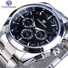Forsining Black Men's Mechanical Watch 3 Dial Calendar Automatic Self-Wind Clock Business Sport Stainless Steel Belts Wristwatch