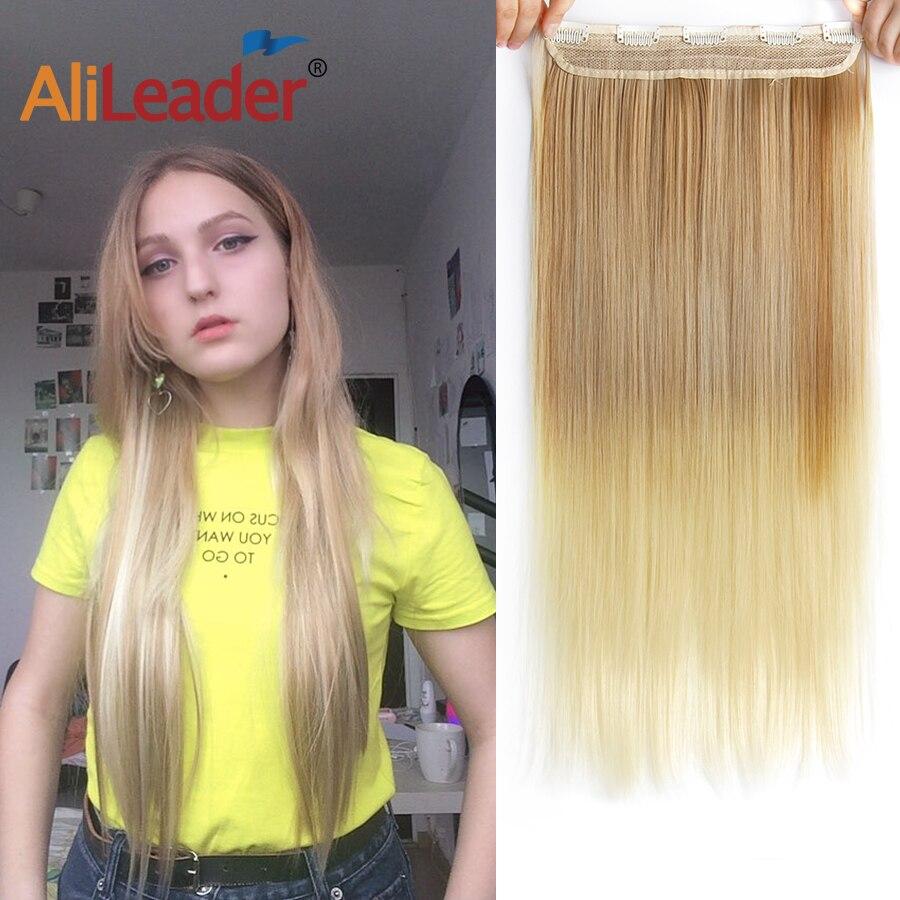 Alileader 22 Cal klipsy do przedłużania włosów długie proste włosy syntetyczne do przedłużania włosów s 5 klip w Ombre czarny brązowy czerwony szary Hairpiece