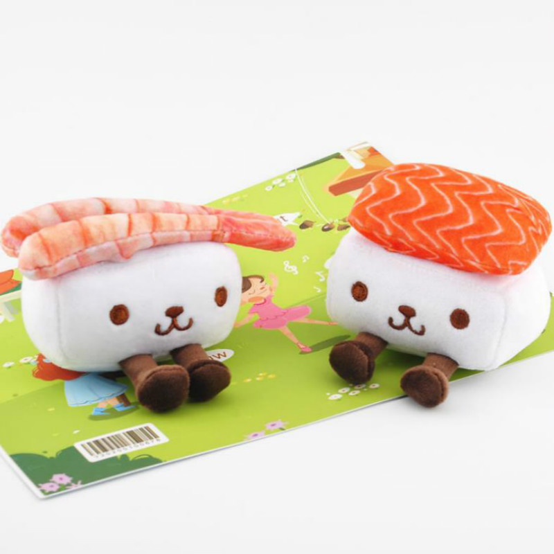1pc Japanese Cartoon Plush Toys Doll Keychian Accessory Cute Sushi Rabbit Salmon And Shrimp Plush Pendant For Girl Gift