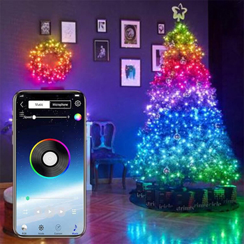 USB LED String Light Bluetooth App Control Copper Wire String Lamp Waterproof Outdoor Fairy Lights for Christmas Tree Decoration image