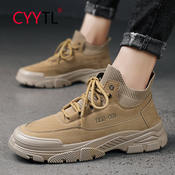 CYYTL Winter Ankle Boots Men's Casual Safety Shoes Autumn Leather Lace-up Waterproof Men's Boots Military тактические ботинки