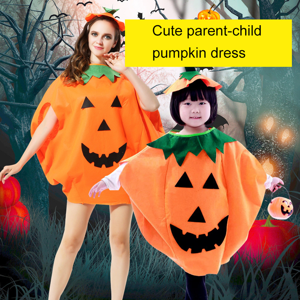 Halloween Pumpkin Cosplay Dress Childrens Makeup Show Clothes Party Decoration for Kids Adult