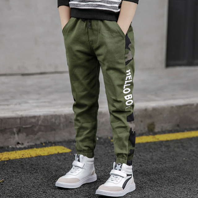 Pants for Boys Spliced Beam Foot Trousers Cotton Casual Sports Pants Clothes for Teenagers Boys 8 10 12 14 16 Years Spring 2020 5