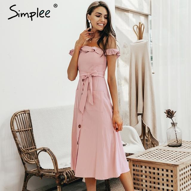 Sexy off shoulder ruffle women dress