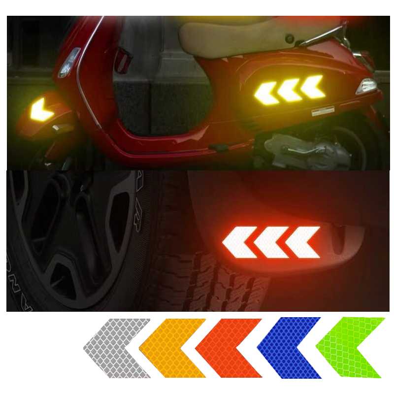 10Pcs Car Reflector Sticker Safety Warning Reflective Sticker Arrow Adhesive Tape For Truck Bicycle Motorcycle Home Backpack