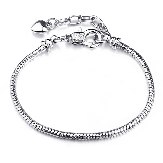 CHIELOYS High Quality Authentic Silver Color Snake Chain Fine Bracelet 6