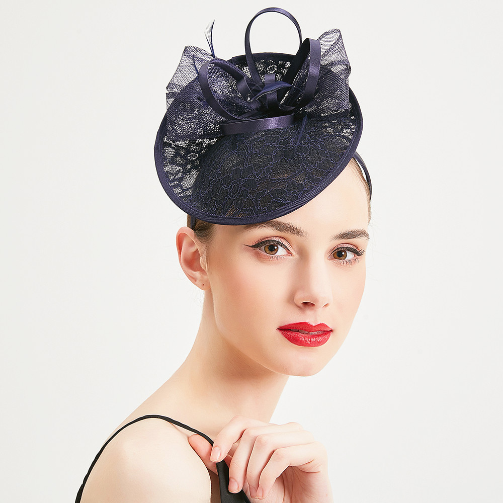 Wedding Hats For Women Elegant Banquet Fedoras Hats Church Hat Fascinator Blue Hats Cocktail Tea Party Feather With Bow Caps