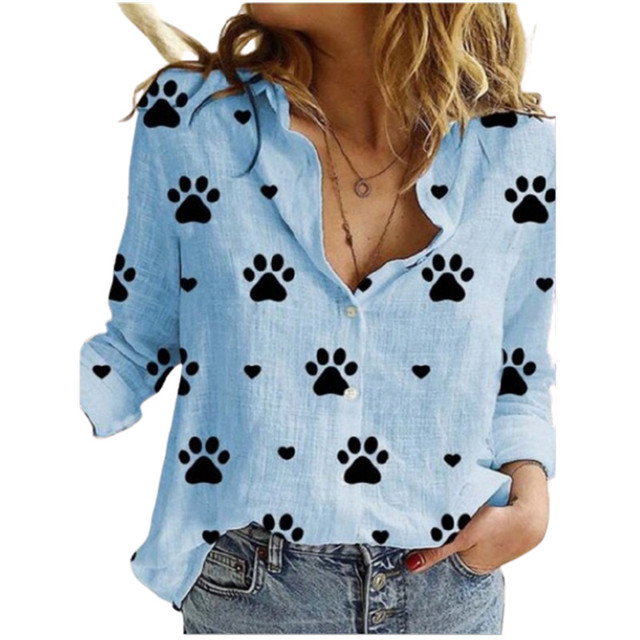 Cute Paw Print Printing Lapel Long Sleeve Women's Shirt Spring Autumn New Cardigan Casual Button Ladies Blouse Ropa De Mujer 6