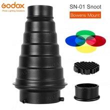 GODOX SN 01 Bowens grande Snoot Studio Accessori Per Flash Studio Professionale luce Raccordi Adatto per S Tipo di DE300 SK400 II