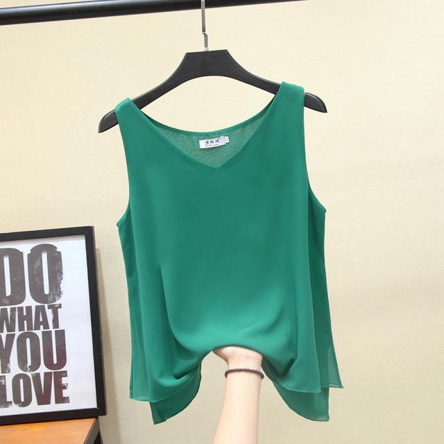 2021 Fashion Brand Women blouse Summer New sleeveless Chiffon Shirt Solid V-neck Casual blouse Loose Oversized Female Tops 4