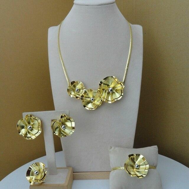 Yuminglai Edlen Schmuck Blume Design Schmuck Sets 24K Dubai Gold Schmuck FHK8077