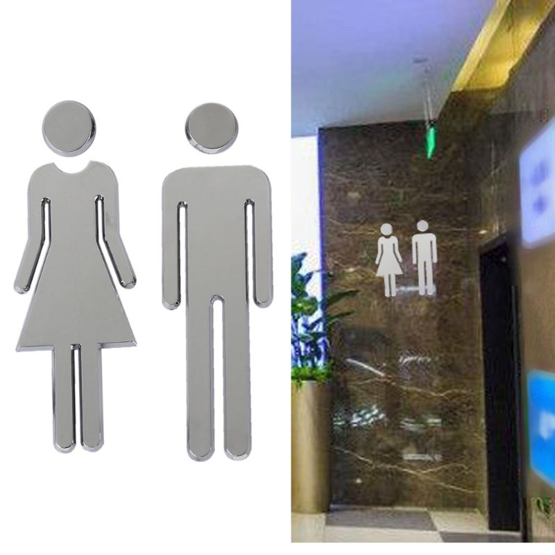 2Pcs ABS Plastic Removable Man Woman Washroom Toilet WC Sign Stickers Adhesive Bathroom Hotel Office DIY Home Door Sign