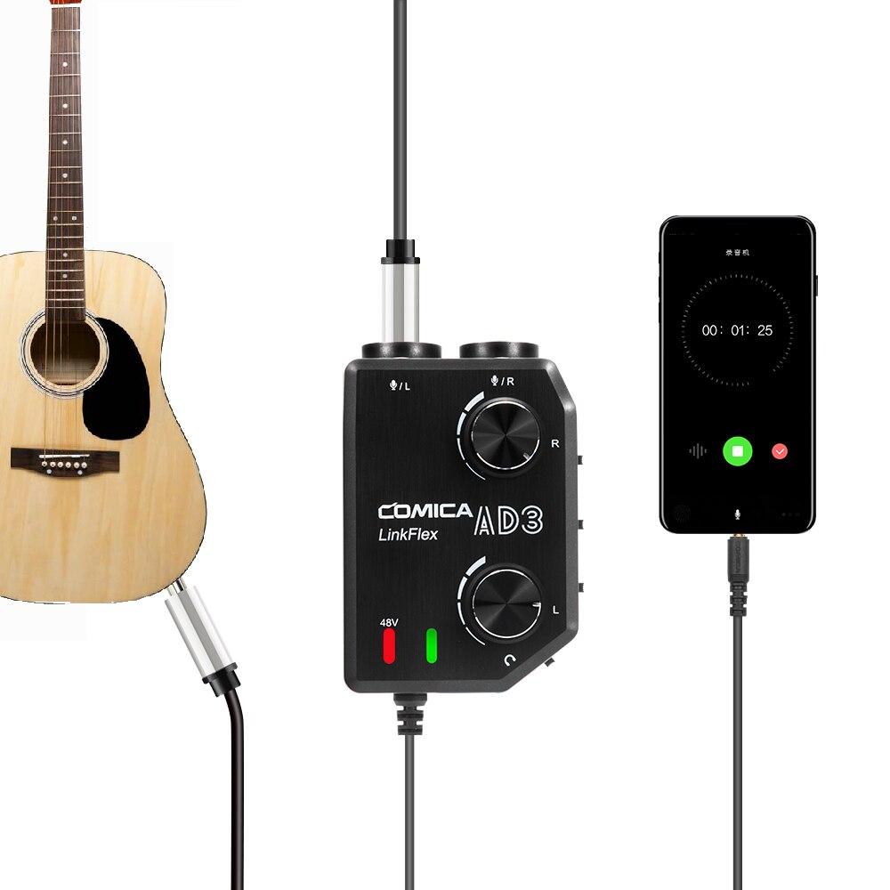 COMICA AD3 XLR/3,5mm/6,35mm micrófono Audio mezclador de preamplificación/Adaptador/Interfaz de guitarra para DSLR Canon Nikon Cámara iPhone Android