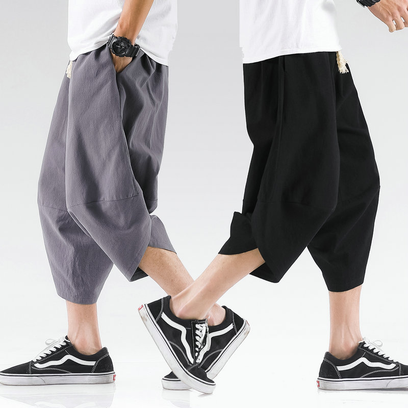 Summer Mens Cross Pants Streetwear Harem Pants Male Loose Chinese Style High Quality Men Casual Pants Fashionable Large Size 5XL