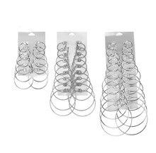 Fashion 12 Pairs Hoop Earrings Set Round 2019 Big Circle Earring Jewelry Women Girls Steampunk Ear Clip Korean