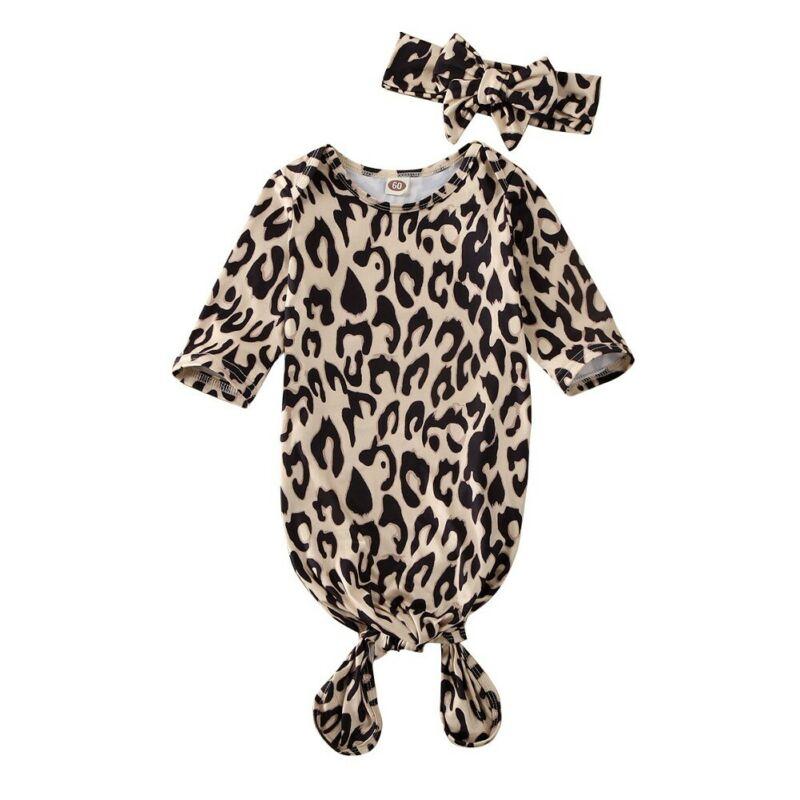 Pudcoco Leopard Print Baby Girls Sleeping Bag Newborn Baby Cotton Swaddle Blanket Wrap Sleeping Bag Kids Clothes 0-6M