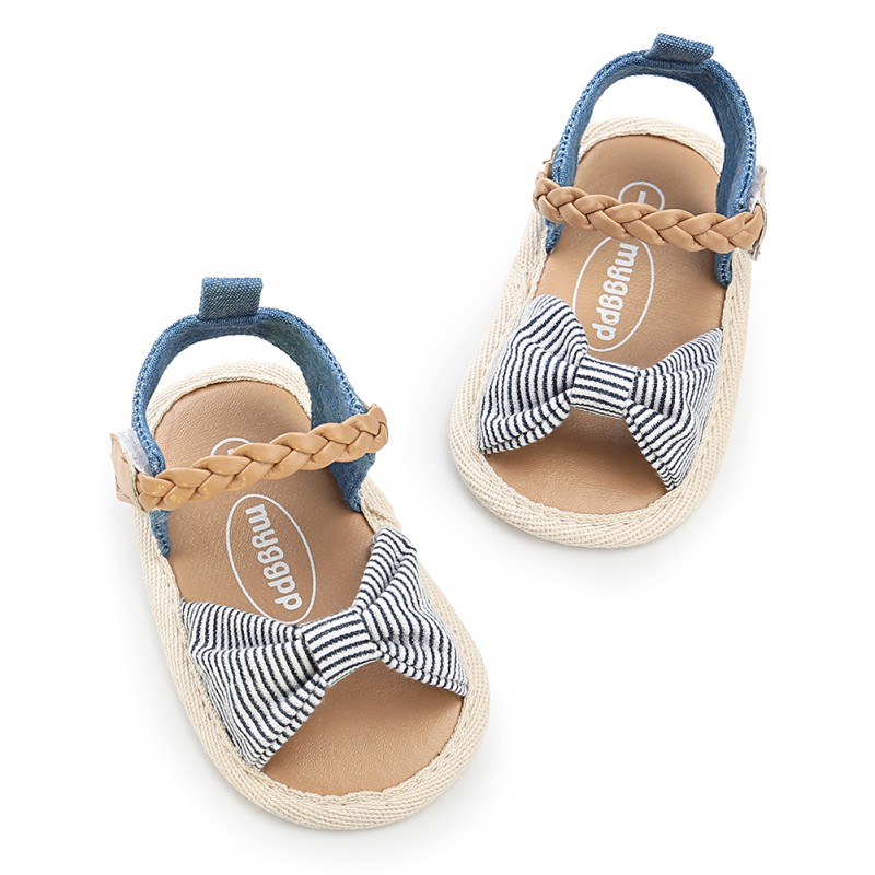 Summer Cotton Baby Girl Sandals Canvas Dotted Bow Baby Girl Sandals Newborn Baby Shoes Playtoday Beach Sandals Baby Shoes 0-18M