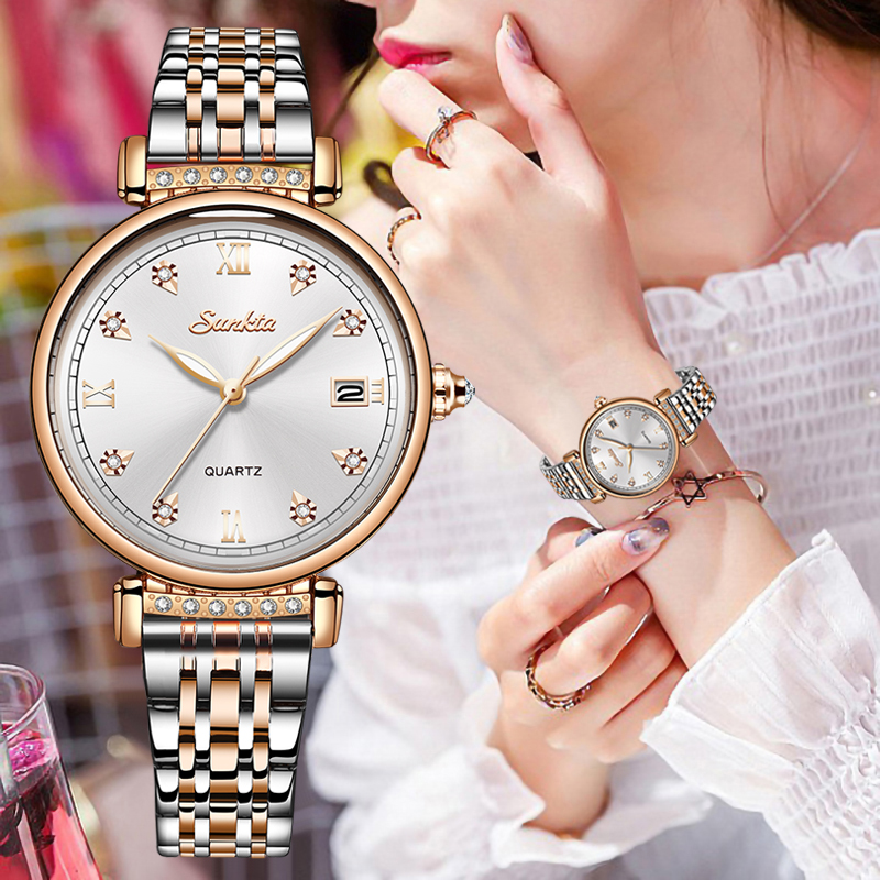 SUNKTA 2020 Woman Watches Rose Gold Top Brand Luxury Watch Women Quartz Waterproof Women's Wristwatch Ladies Girls Watch Clock