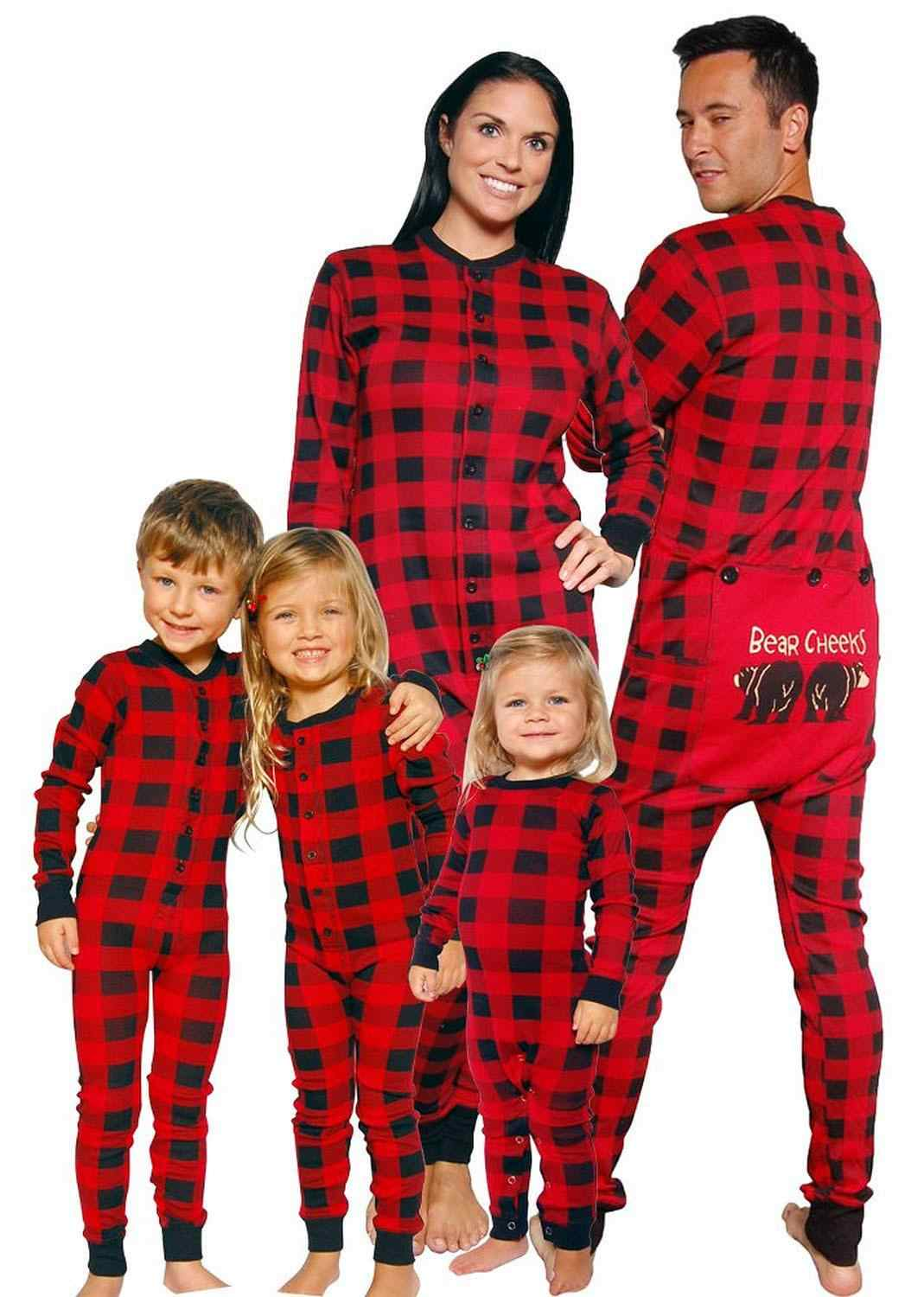Family Matching Christmas Kids Adult man women boy girl Pajamas Pjs Set Xmas Hooded Jumpsuit Fashion Casual Nightwear Gifts