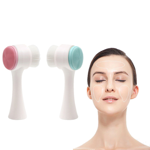 3D Double Side Silicone Face Cleanser Brush Soft bristles Portable Face Cleaning Vibration Massage Exfoliating Blackhead(China)