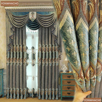 Custom curtains luxury bedroom American embroidered blue thick chenille cloth blackout curtain tulle valance drape B827