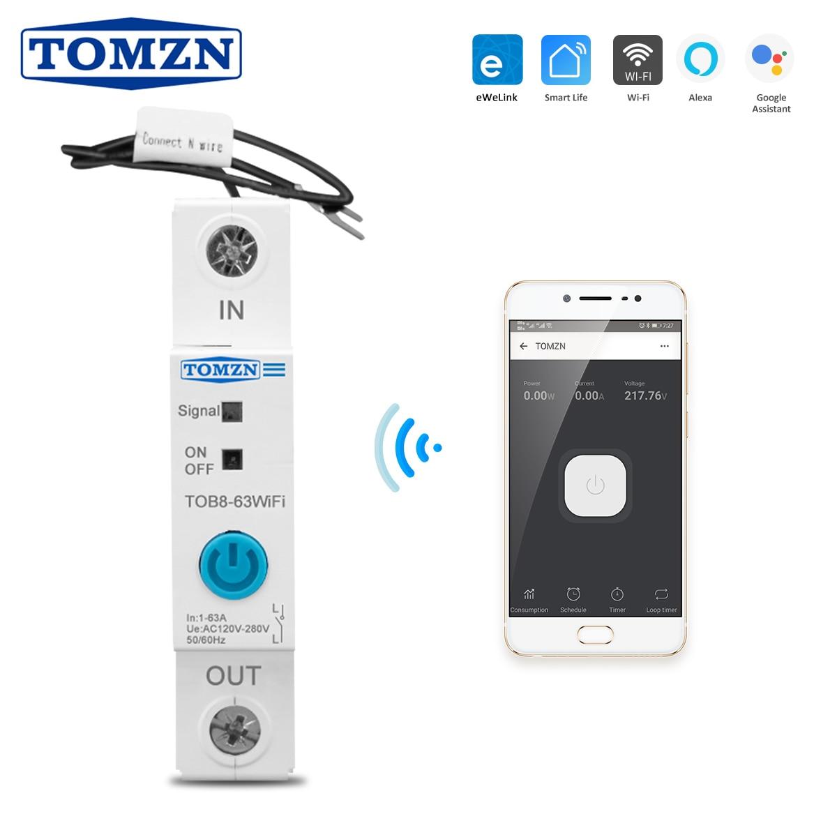 63A Ewelink однофазный WIFI умный измеритель энергии кВт/ч измерительный мониторинг цепи таймер выключателя реле для умного дома TOMZN|Автоматические выключатели|   | АлиЭкспресс