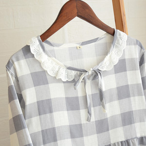 Image 4 - Womens New Double Layer Gauze Nightdress Spring Long Sleeve Simple Plaid Nightgown Plus Size Sleepwear Cotton Sleeping Dress