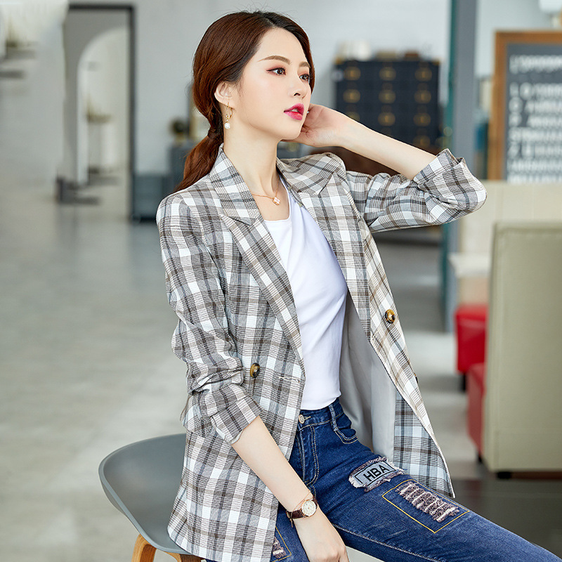 Autumn New Ladies Blazer Temperament Casual Long-sleeved Plaid Suit Jacket Female 2019 Korean Version Of The Slim Women's Suit