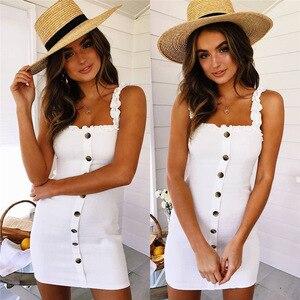 Dresses For Women Temperament Short Dress Halter Lace-up Knotted Sling Short Dress Buttoned Decorative Sling Dress Sundress