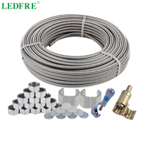 LEDFRE 20Meters 304 Stainless Steel Corrugated Tube 1/2 3/4 DIY Pipe Plumbing Hose Retractable Water Hose Corrugated Connector