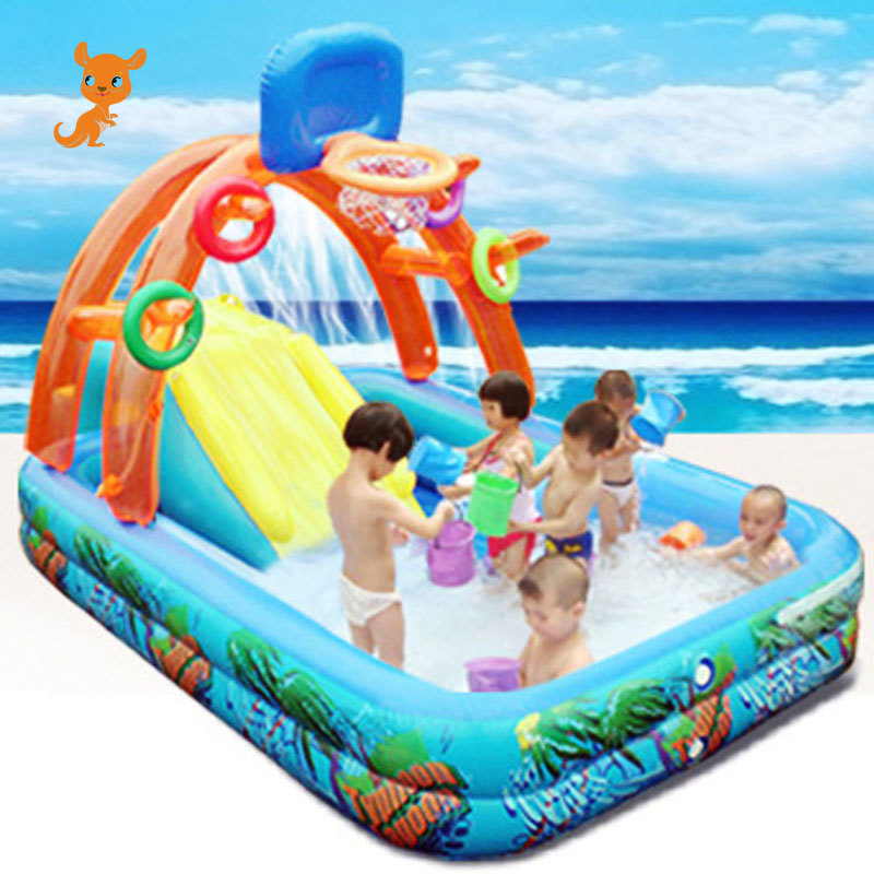 New Water Slide For Children Fun Lawn Water Slides Inflatables Pools For Kids Summer Children's Slide Set Backyard Outdoor Toys