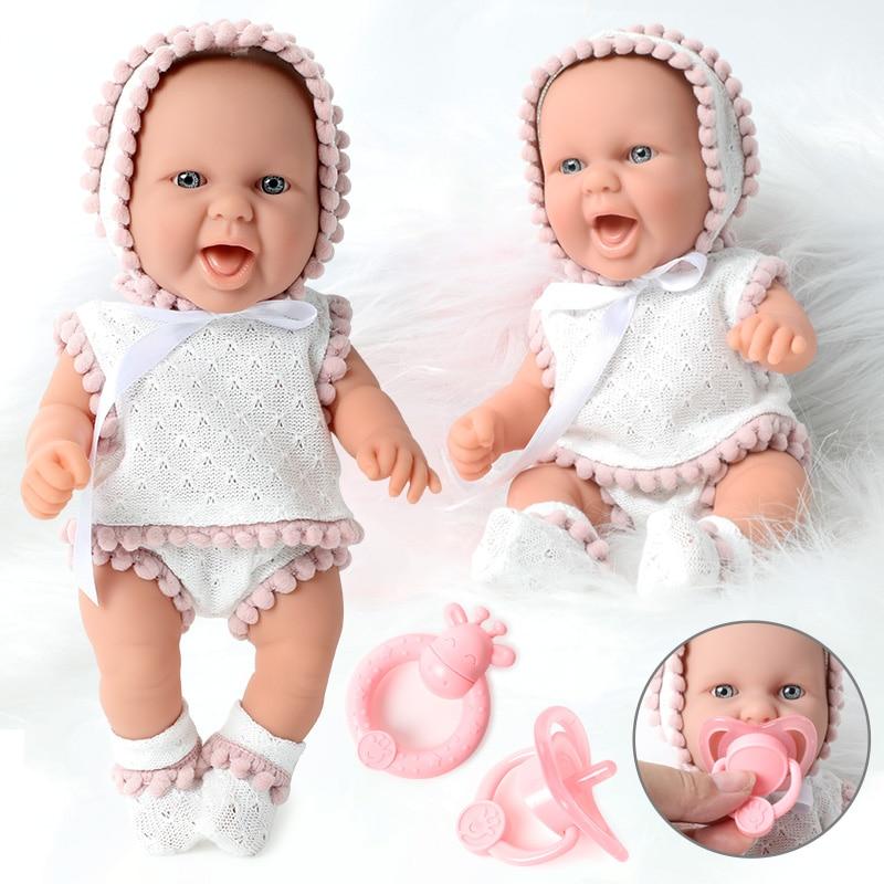 10 Inch Simulation Bebe Reborn Silicone 26CM Newborn Waterproof Realistic Bady Doll Nipple Hand Rattle Set Education For Toys