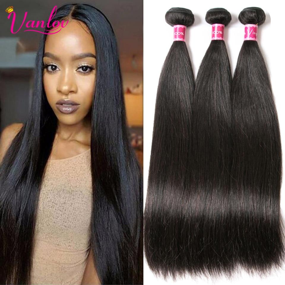 Vanlov Straight Hair Human-Hair-Weave-Bundles Natural-Black 1/3/4pcs/lot