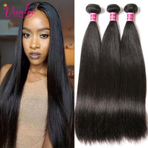 Vanlov Straight Hair Brazilian Straight Human Hair Weave Bundles Natural Black 1/3/4 pcs/lot 100% Human Hair Bundles Remy Hair(China)