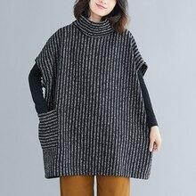 2019 Plus Size Bat Sleeved Woolen CoatRound Neck Jackets Women Winter Fashion Outerwear Thicker Loose Coat Sleeveless