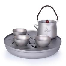Bezgraniczna podróż malarstwo pejzażowe zestawy do herbaty tytanowa taca herbaciana tytanowy czajnik do herbaty Travel Home kubek biurowy 230ml 800ml czajnik do herbaty
