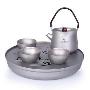 Image 1 - Boundless Voyage Landscape Painting Tea Sets Titanium Tea Tray Titanium Tea kettle Travel Home Office Cup 230ml 800ml Tea Kettle