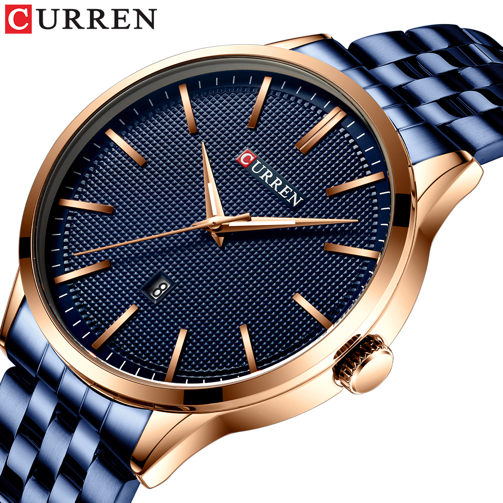 New CURREN Watches Men Top Brand Luxury Business WristWatch Army Military Stainless Steel Quartz Male Watches Relogio Masculino