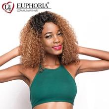 Brazilian Hair Lace Part Wig Ombre Brown Black Color Afro Ki