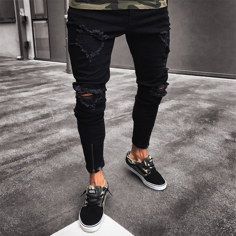 Europe And America New Style Jeans Men's Casual Skinny Pants With Holes Zipper Jeans Foot Mouth Zipper