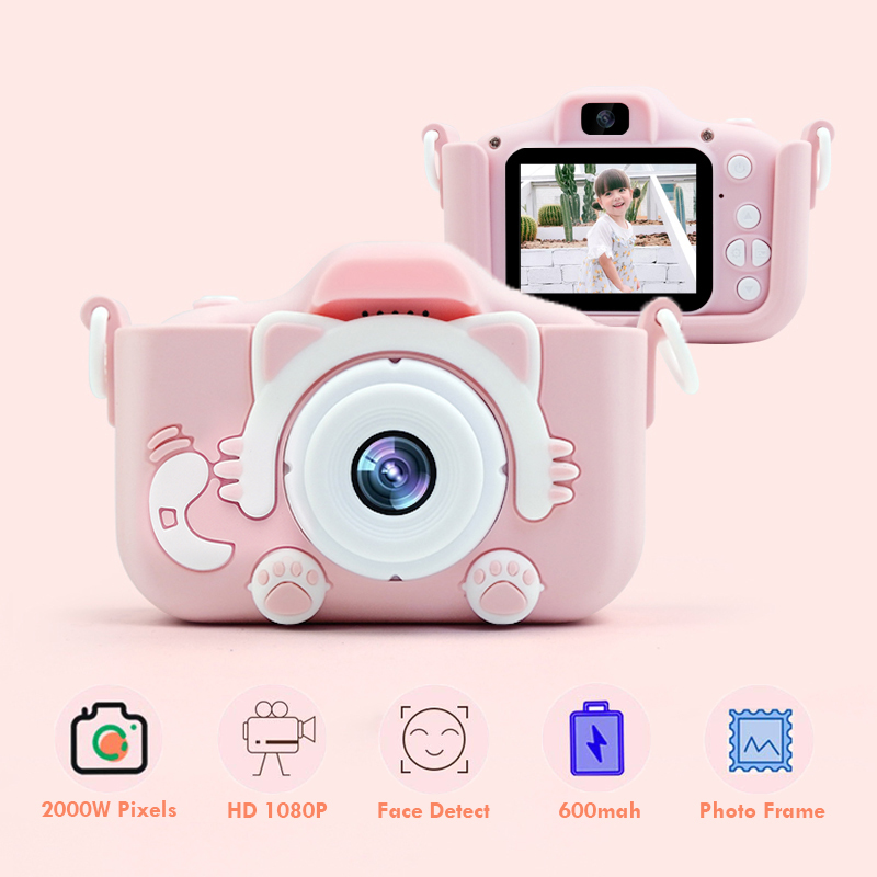 Kids Camera With Cartoon Case HD 1080P Dual Digital Camera For Children Children's Camera Birthday Christmas Gift For Kids