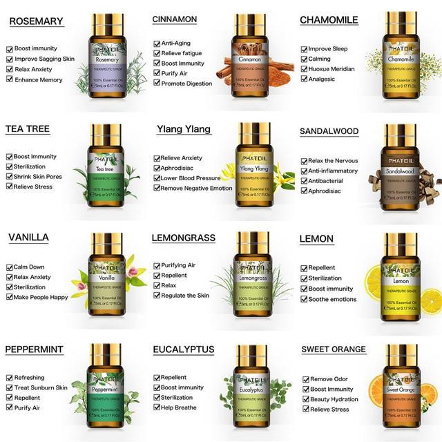 Huiles essentielles pures 15 pièces coffret cadeau arôme végétal naturel diffuseur d'huiles essentielles Eucalyptus vanille menthe géranium Rose huile d'arbre à thé 4