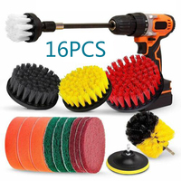 quality 16Pcs Drill Brush Set Extension Long Attachment Scrub Pads Sponge Power Scrubber tools Cleaner Set